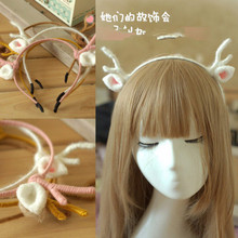 Princess sweet lolita hairbands Christmas card hoop elk antlers handmade wool hair furry cat ears headdress DIY GSH026(China)