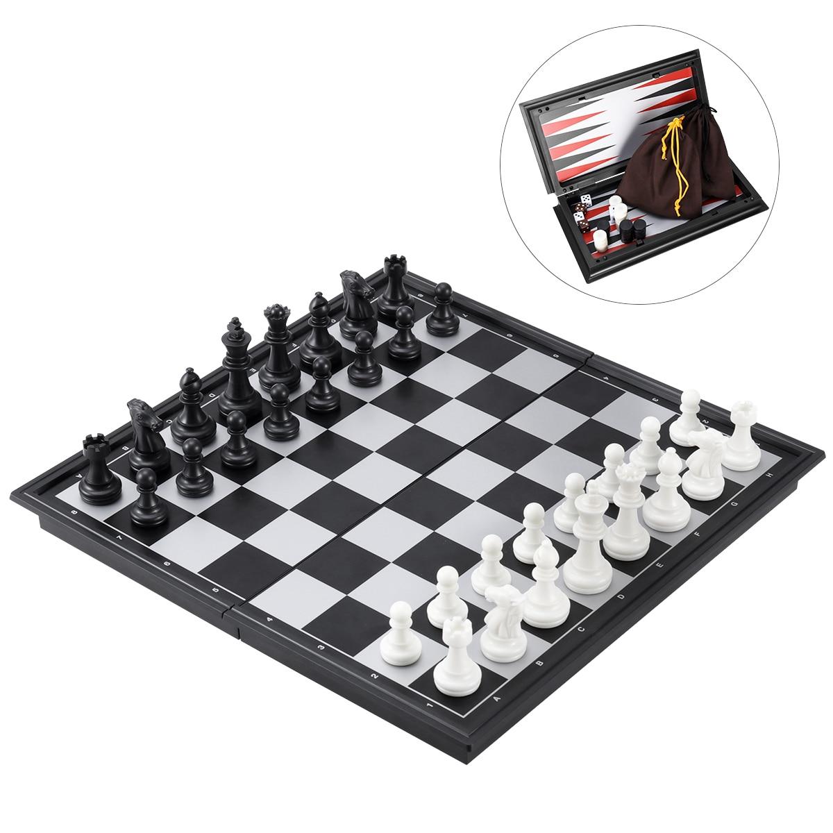 backgammon de plástico de 32 x 32 cm dama Ajedrez magnético ajedrez