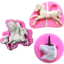 Pegasus Carousel Horse Candle Chocolate Candy Silicone Mold Cake Decorating Tool DIY Baking Gadgets Molde de Silicone
