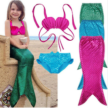 Discount 90-150cm Girl Kids Halloween Mermaid Cosplay Clothes Children Mermaid Tail Costume Cheap Fanny Bikini Beach Clothing