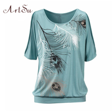 ArtSu T-Shirt Women Off Shoulder Feather Print Short Sleeve Summer Top Jumper T Shirt Feminina Women Tops Tee Shirt Femme TS5116