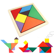 1Pcs Fashion Durable Geometric Wooden Jigsaw Puzzles Kids Education Mental Development Toys for Children board Games(China)