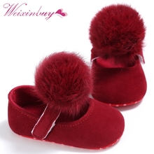 Lovely Cute Infant Baby Girl Shoes Toddler Pre-walkers Princess Hair Ball Crib Shoes 0-18M Bebe  Shoes