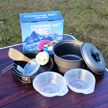 1-3 Person Outdoor Cookware Set Camping Cooking Pot Pan Bowl Spatula Set DS200