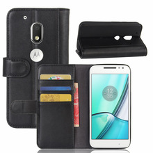 Flip Wallet Style Bovine Skin Leather Case Cover For Motorola MOTO G4 Play Magnetic With Slot Holders Stand Function(China)