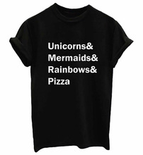 Unicorns Mermaids Rainbows Pizza Print Women tshirt Cotton Casual Funny t shirts For Lady Top Tee Hipster Drop Ship Tumblr SB03