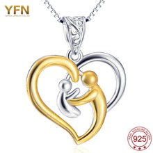 YFN Genuine 925 Sterling Silver Gold Love Heart Necklace Mother Hold Baby Family Necklace Jewelry Gifts GNX10223(China)