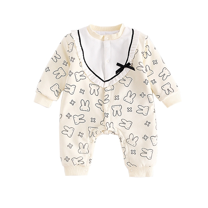 Winter Baby Romper Thickening Double Layer Warm Girs Jumpsuit New Cute Baby Clothing Cute Animal Rabbit Print Kids Body Menina<br>