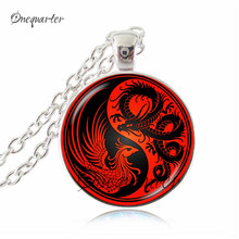 red black yin yang necklace dragon phoenix jewelry antique bronze chain ying yang cross animal jewelry glass cabochon necklaces