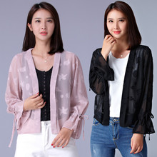 F~XL Plus Size 2017 Spring Autumn Women Fashion Puff Sleeve 3D Print Bolero Tops Ladies Big Chiffon Cardigan Outwear Jacket Coat(China)