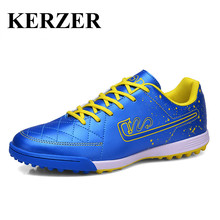 Hot Indoor Soccer Shoes For Men Boys Kids Football Turf Cleats Blue/Green Leather Football Boots Cheap Turf Trainers Children