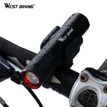 WEST BIKING Bicycle Light Waterproof CREE T6 LED MTB Bike Light Front Torch + Holder Stretch Zoom 6 Hours Cycling Bicycle Lights