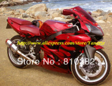 Black flames red Fairing  for 2005 2008 KAWASAKI ZZR600 05 08 ZZR 600 2005-2008 ZZR 600 05 06 07 08  body work