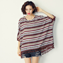 2017 New Summer Korean Style Women Clothes Casual Streetwear O-neck Batwing sleeve Striped Tassel Chiffon Plus size Shirts Tops