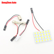1X Car Panel 24 LED 5050 W5W T10 BA9S T4W C5W Festoon Dome Interior Lamp Light Car H6W W6W C10W Bulb Reading Parking Light Xenon