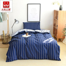 Twin Size Comforter Bedding Sets Navy Color Stripe Duvet Cover 100% Cotton Student Pillowcase Bed Sheet XF5J5