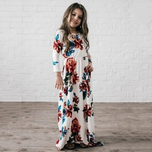 2017 NEWS BABY GIRL DRESS Autumn, Europe and America, children's wear, long sleeves, printed long dresses(China)