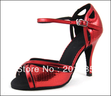 Discount Ladies Red Leather LATIN Shoes Ballroom Dance Shoes Salsa Tango Shoes Samba Dancing Shoes(China)