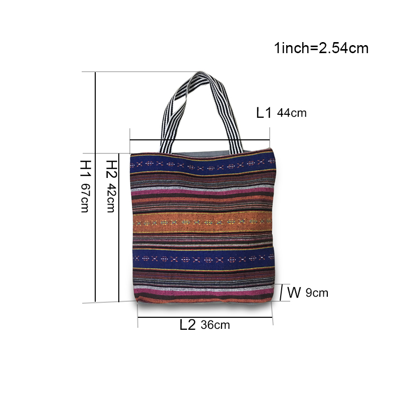 Fashion Women CanvasBeachBags Large Capacity Retro Stripe Womens Bags Summer Beach Handbags For Girls Travel Bag XHMD07 (1)