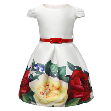 Retail 2017 Princess Girls Clothes Flower Kids Dresses For School Wear Print Little Girl White Formal Dress Children Clothing