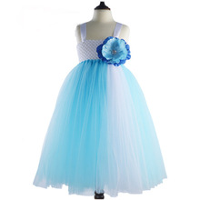 2017 Girls Tulle Skirt Holiday Stage Performance Costume Birthday Gift for Kids Photography Clothing Blue Princess Dress Party