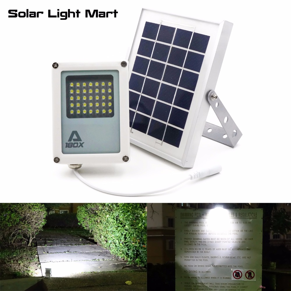 Mini Alpha 180X 35LED 60-230LM 3 Power Modes 5 Meters Cable Outdoor Garden Metal Solar Powered LED Flood Light<br>