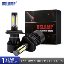 Buy Oslamp X7 100W 1000LM Car LED Headlight Bulbs H4 H7 H11 H13 9004 9005 9006 COB Chips Auto Led Bulb 12 24v 6500k Headlamp for $19.59 in AliExpress store