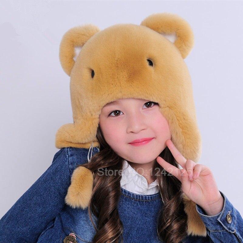 Baby boy girl children autumn winter hat kids full real rex rabbit fur hat lovely Cartoon child bear ear protector Earmuff cap <br>
