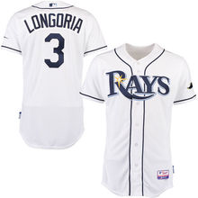 MLB Men's Tampa Bay Rays Evan Longoria Baseball White Home 6300 Player Authentic Jersey(China)