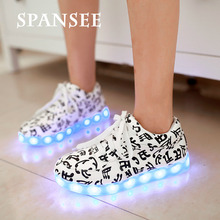 Fashion Brand LED Shoes Luminous Sneakers Glowing Boys Girls Sneakers with Light Sole Kids Female Basket Femme LED Slippers 15