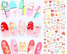 RU2PCS DS063 Water Transfer Foils Nail Art Sticker Fashion Nails Colorful Love Manicure Decals Minx Cute Nail Decorations(China)