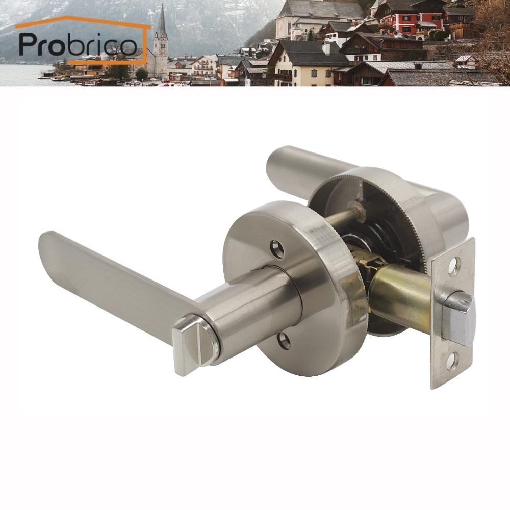 Probrico Keyless Stainless Steel Privacy Interior Door Lever Door Lock Set Black Bathroom Door Handle Bathroom Bedroom Door Knob<br>