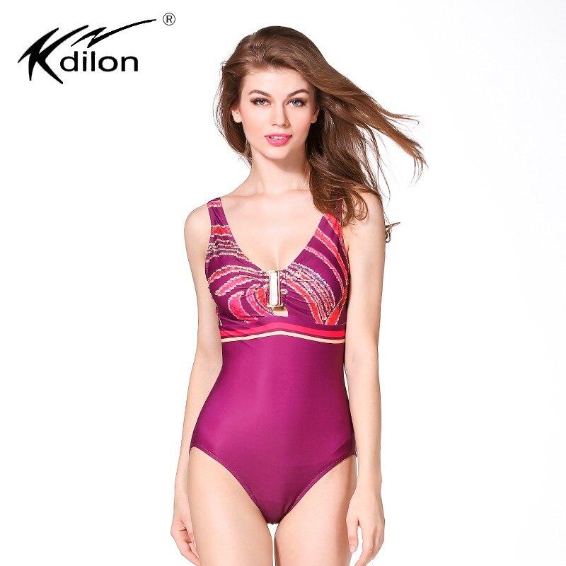 Kdilon bathing suit women 2016 plus size swimwear female thong one piece swimsuit printed mayo large badpak bodysuit<br>