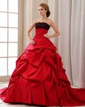 Vintage Gothic Black And Red Satin Ball Gown Wedding Dresses 2016 vestido de noiva Pick-ups Strapless Non White Bridal Gowns