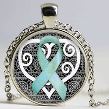 Breast Cancer Awareness Pendant Cancer Survivor Jewelry Wellness Jewelry Survivor Pendant Teal Awareness Ribbon bule