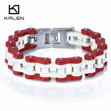 Kalen Trendy Jewelry  Stainless Steel Bike Chain Bracelet Heavy Biker Bicycle Link Chain Bracelet From China Factory Supplier