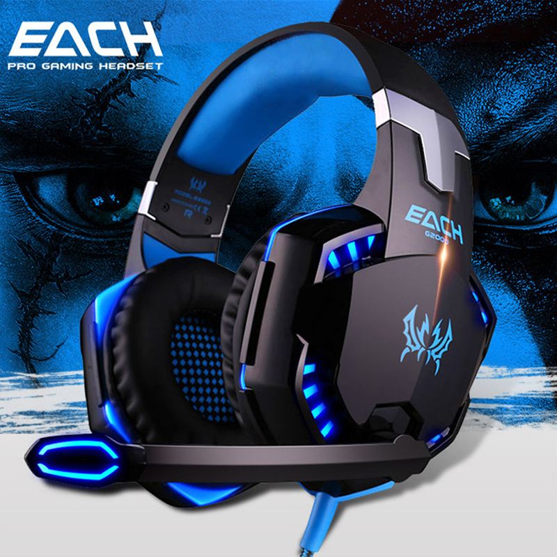 EACH G20 Gaming Headset 3.5mm stereo Surround Deep Bass LED Light Over Ear Headphones With Microphone For Computer PC Gamer<br>