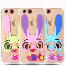 Rabbit Officer Silicone Soft TPU LED Flash Light Up Remind Incoming Call Cover Case For iPhone 6 6S 6plus 6Splus 5 SE