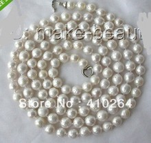 "$wholesale_jewelry_wig$ free shipping  long 50"" 10~11mm round white Edison keshi reborn pearl necklace"