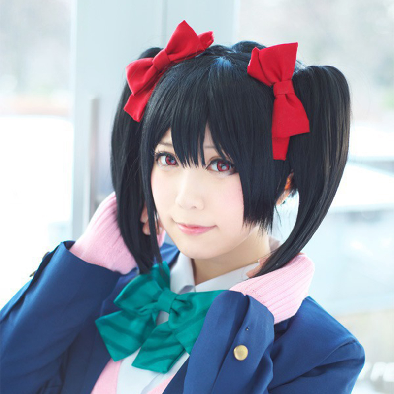 OHCOS Cute 28cm  Love Live Yazawa Nico Cosplay Short Black Pigtail Fashion Women Party Wig Synthetic Hair<br><br>Aliexpress