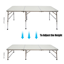 70.86x23.62x26.37 Inches Portable Aluminum Alloy 3-Fold Table Adjustable Light Weight Foldable Table for Camping Outdoor Picnic(China)