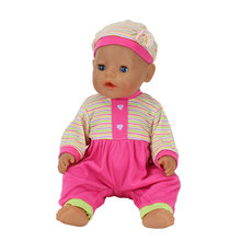 2pcs/set, The Hat+Suit Wear For 43cm Zapf Doll 17 Inch Reborn Babies Clothes(China)