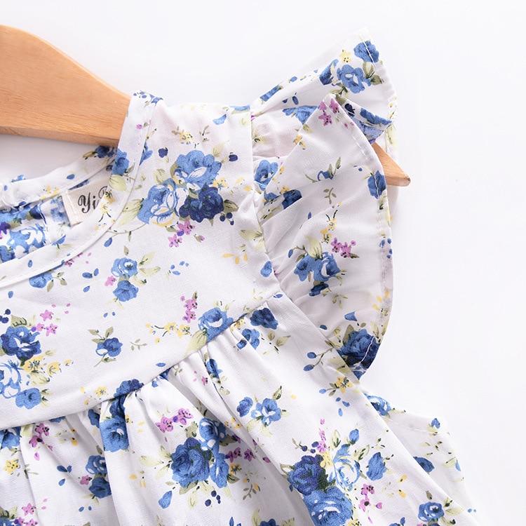 Mother nest 2018 Summer New Girls Flower Puff Sleeves Dress Cotton Children Kids Clothes Toddler Baby Birthday Kids Dresses (6)