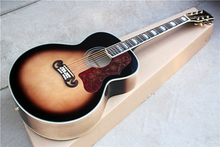 Factory Custom tobacco sunburst body G 43 inch acoustic guitar with red pearl pickguard,golden tuners,can be customized