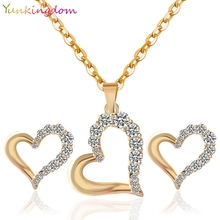 Yunkingdom Gifts unique new arrival   gold color heart-shaped white crystal fashion Birdal jewelry set for women YS075