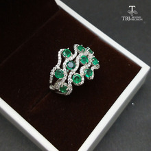 TBJ,100% Natural Zambia Green Emerald gemstone Ring in 925 sterling silver,romantic gift for women & girls with jewelry box(China)
