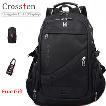 "Crossten Swiss Military Army Travel Bags Laptop Backpack 15.6"" 17""  Multifunctional Schoolbag Waterproof  Fabric"