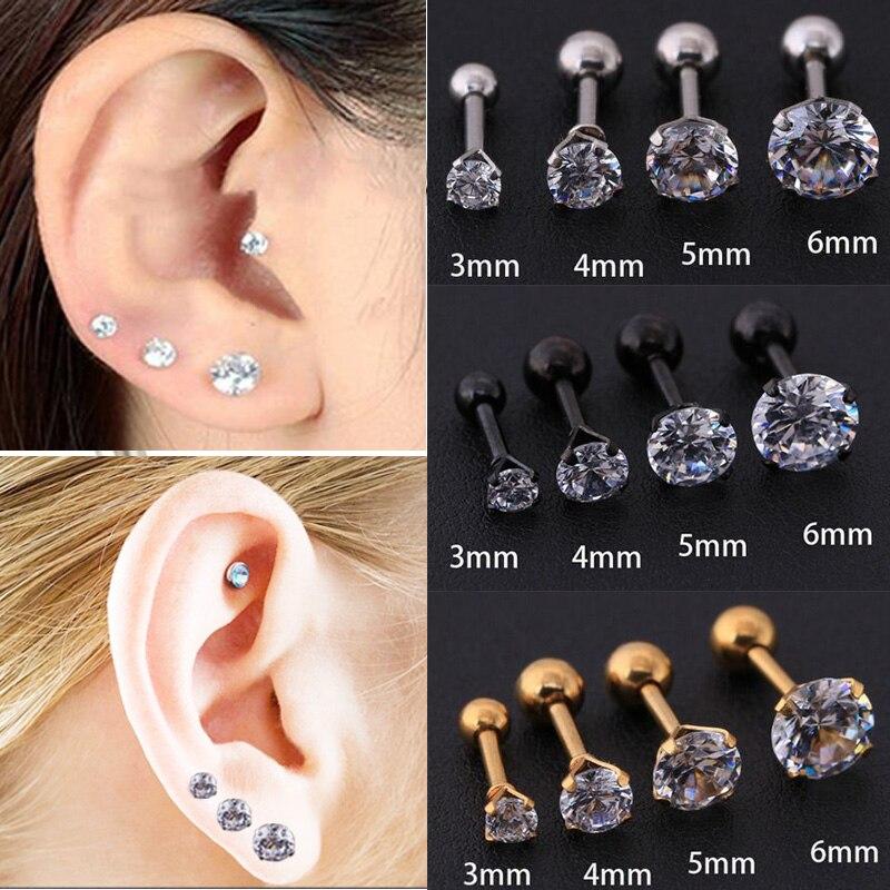 4Pcs Steel 16g 6mm 8mm Tragus Earrings Piercing Jewelry Daith Eyebrow Septum Monroe 3mm Lower 4mm Clear Crystal Ball M2836