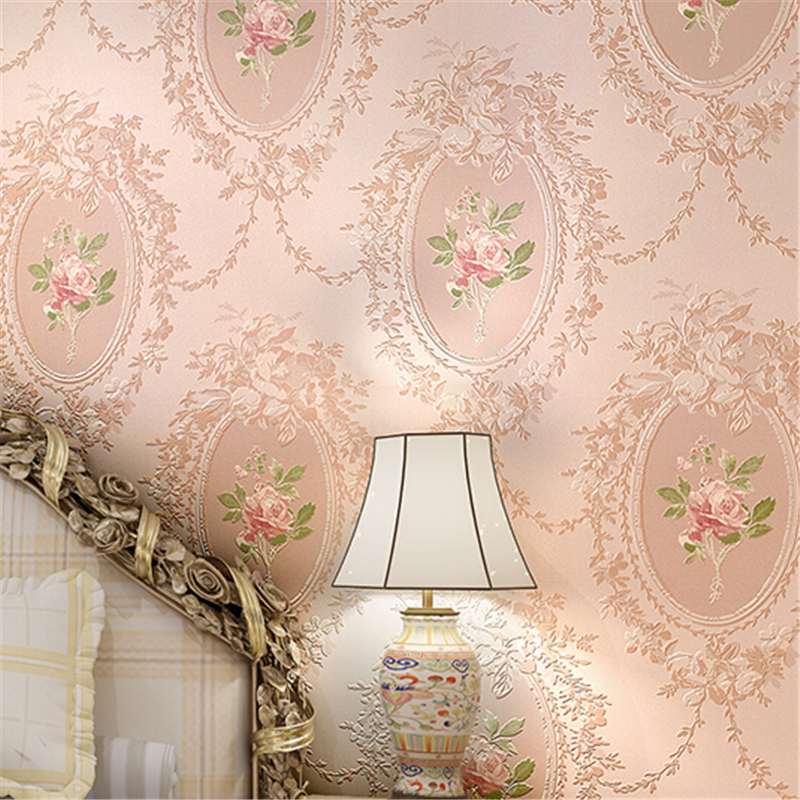 beibehang 10M Home Improvement High-End vintage Mirror Pattern Flocking Wallpaper Rolls Traditional Floral Scroll Wall paperroll<br>