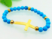 Cheap jewelry stainless steel indian gold cross charm bracelets blue plastic beads elastic bracelets from China manufacturer(China)